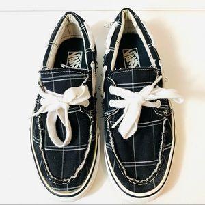 VANS Mens 7.5 Shoe Slip On Black Plaid Canvas
